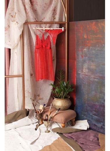 Hays Kadın Dantel Detaylı Tangalı Babydoll Takım Kırmızı